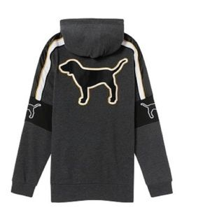 VS PINK L Black Hoodie Quarter Zip Jacket DOG